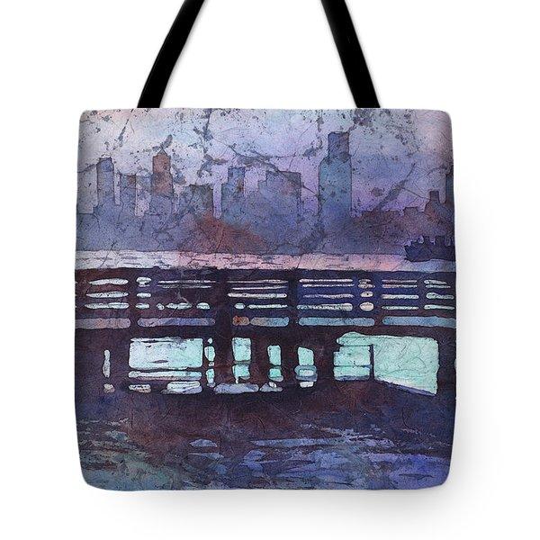 Skyline Of Downtown Seattle, Washington At Dusk.  Watercolor Bat Tote Bag