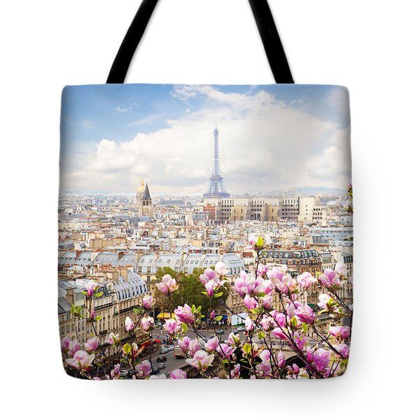 skyline of Paris with eiffel tower Tote Bag