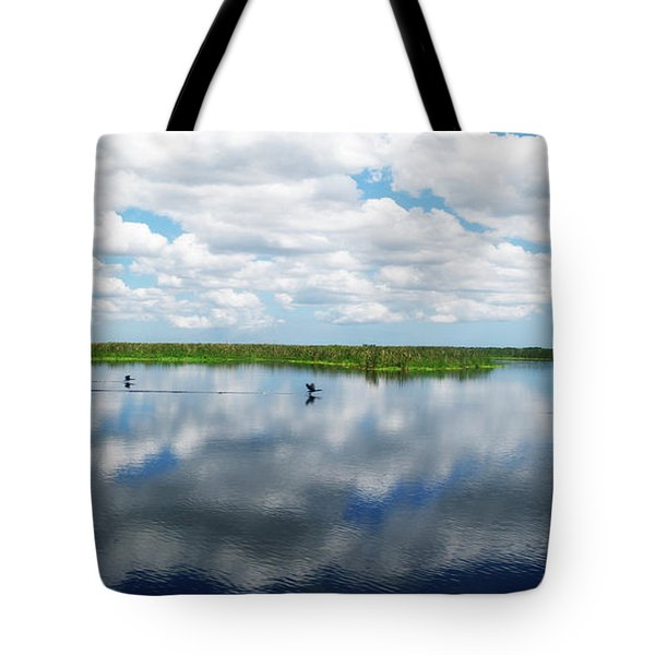 Skyscape Reflections Blue Cypress Marsh Conservation Area Near Vero Beach Florida C2 Tote Bag