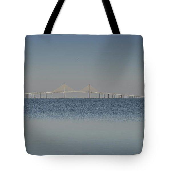 Skyway Bridge In Blue Tote Bag by David Lee Thompson