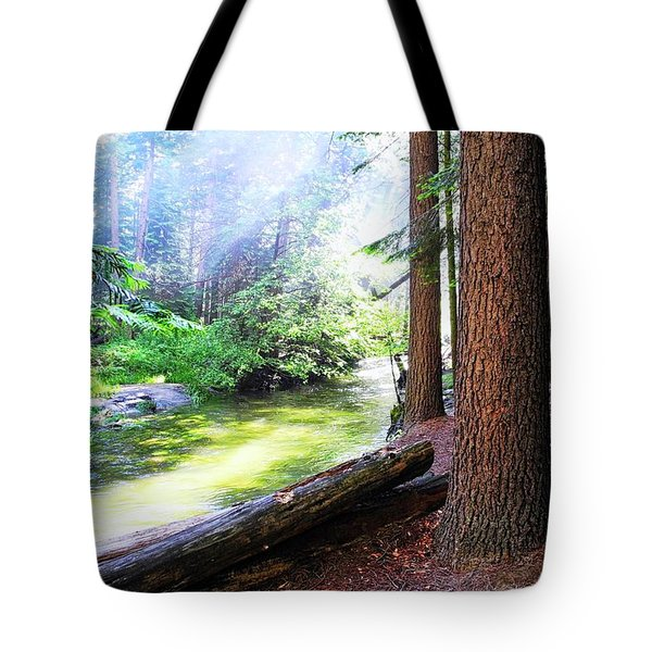 Slanting Sunlight On River Tote Bag