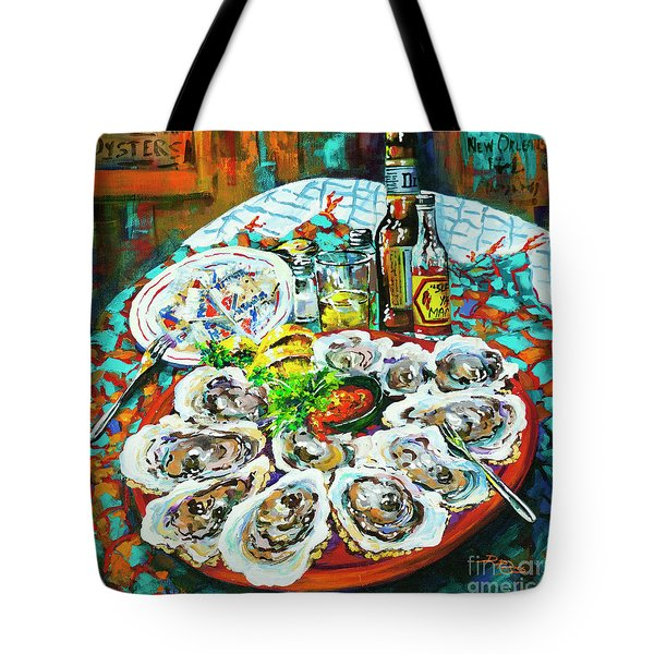 Tote Bag featuring the painting Slap Dem Oysters  by Dianne Parks