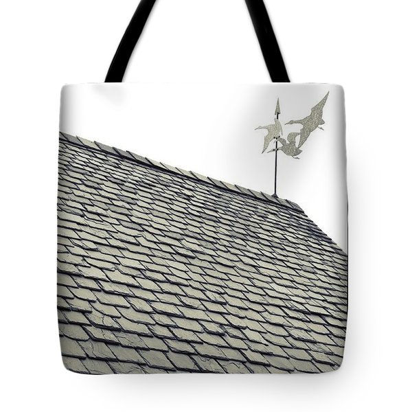 slate roof and weather vane in BW Tote Bag