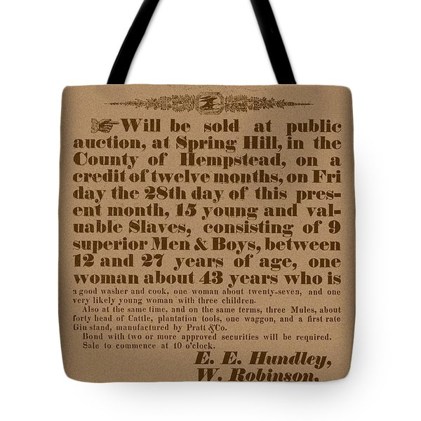 Slave Auction Tote Bag
