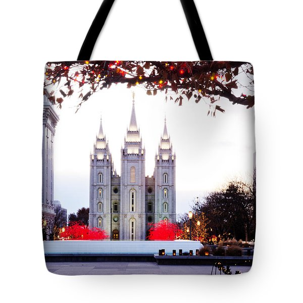 Slc Temple Red And White Tote Bag by La Rae  Roberts