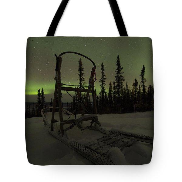 Sled Skeleton Aurora Tote Bag
