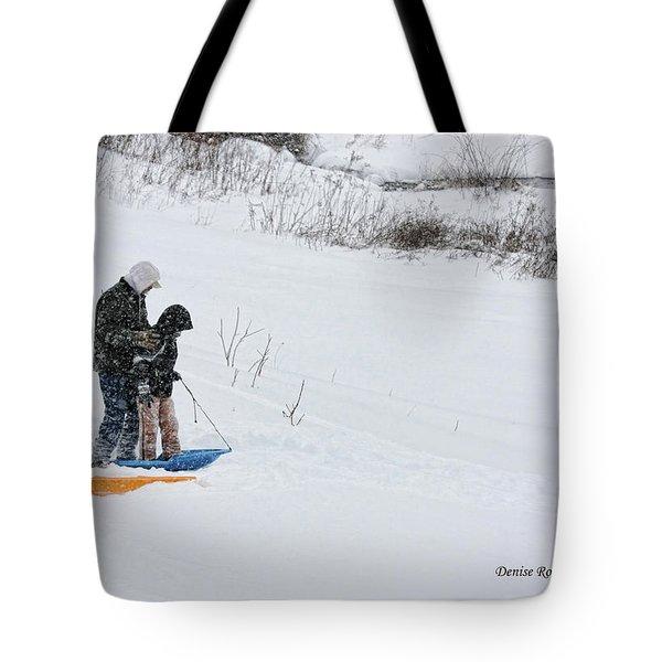 Sledding Tote Bag by Denise Romano