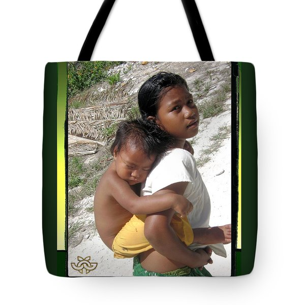 Sleeping Baby On Child In Fanning Island Tote Bag