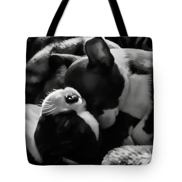 Sleeping Beauties - Boston Terriers Tote Bag by Jordan Blackstone