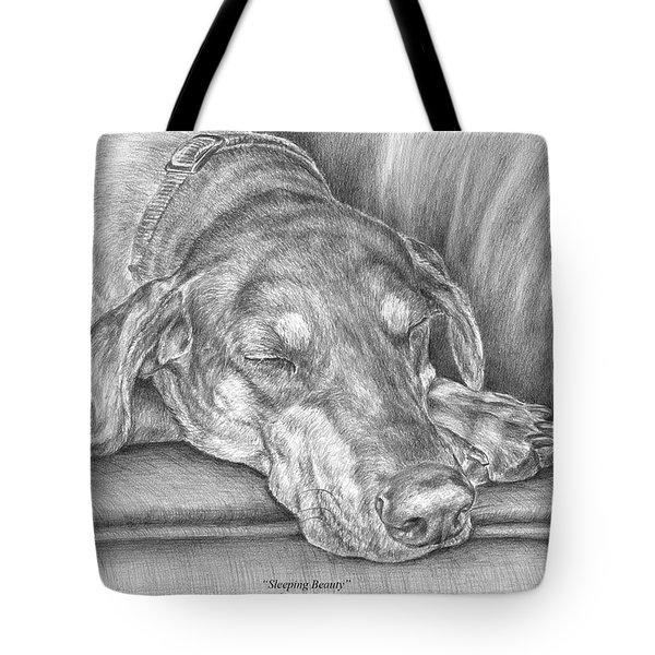 Sleeping Beauty - Doberman Pinscher Dog Art Print Tote Bag