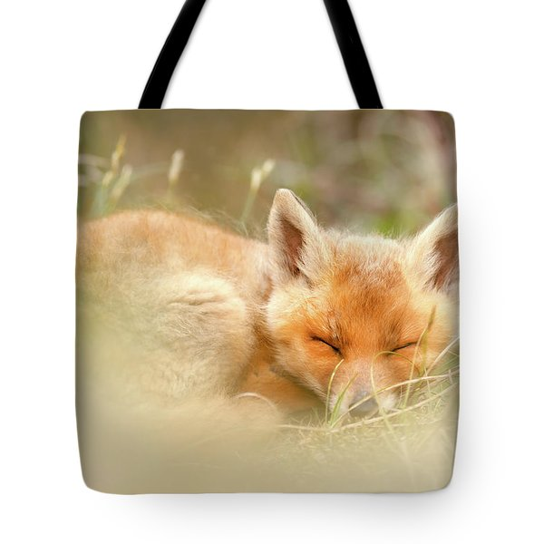 Sleeping Cutie - Red Fox Kit Asleep Tote Bag