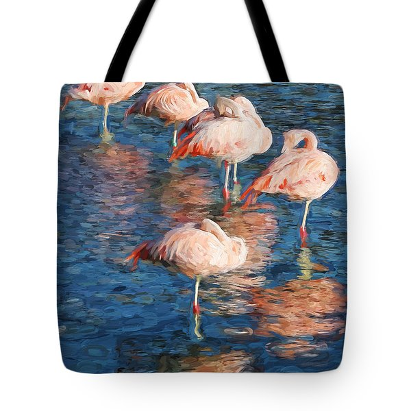 Sleeping Flamingos In Water Digitally Painted Photo Tote Bag
