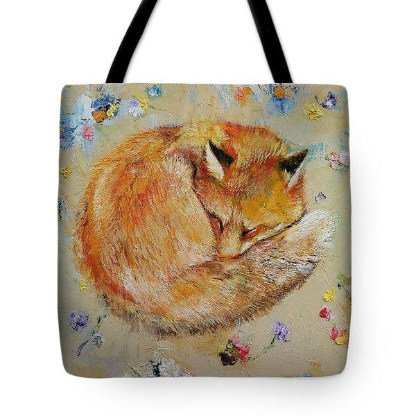 Sleeping Fox Tote Bag by Michael Creese