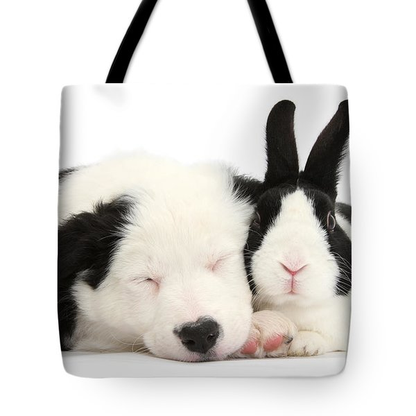 Sleeping In Black And White Tote Bag