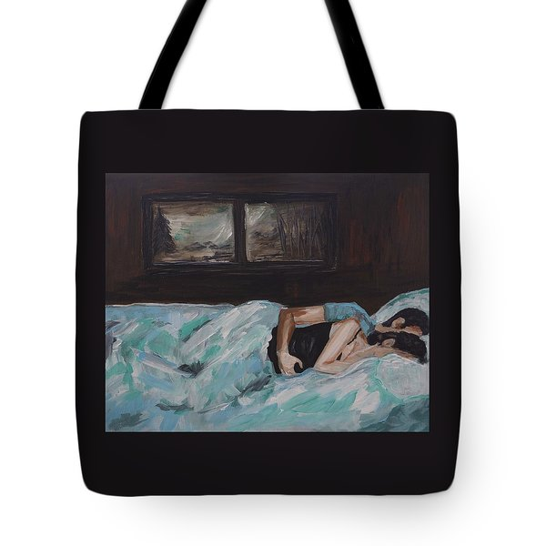 Sleeping In Tote Bag by Leslie Allen