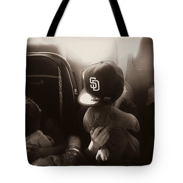 Tote Bag featuring the photograph Sleeping Kids by Amanda Eberly-Kudamik