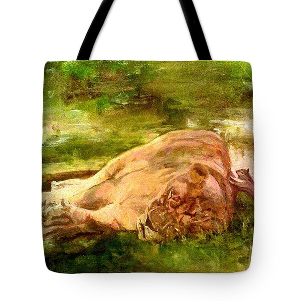 Sleeping Lionness Pushy Squirrel Tote Bag