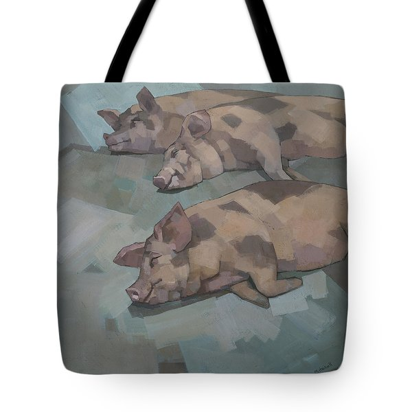 Tote Bag featuring the painting Sleeping Pigs by Steve Mitchell