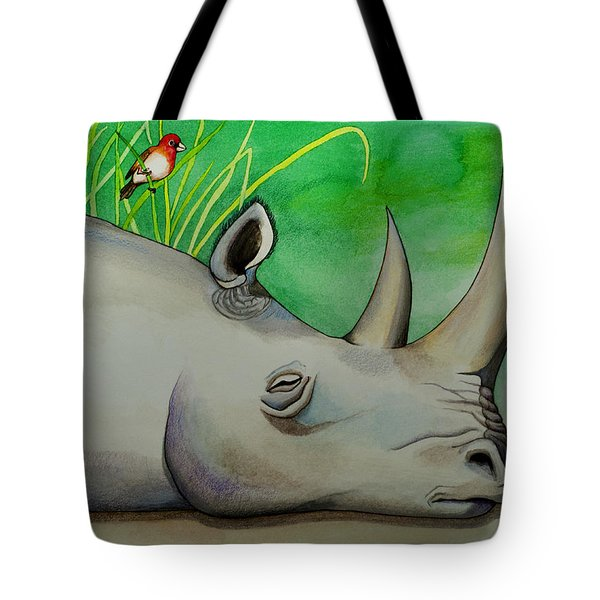 Sleeping Rino Tote Bag by Robert Lacy