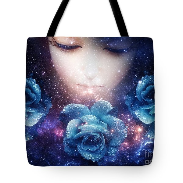 Tote Bag featuring the digital art Sleeping Rose by Mo T