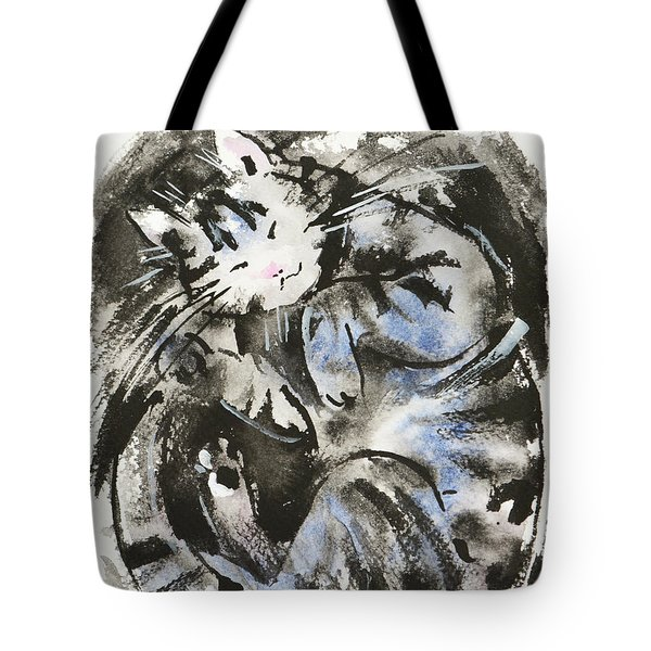 Tote Bag featuring the painting Sleeping Tabby Cat by Zaira Dzhaubaeva