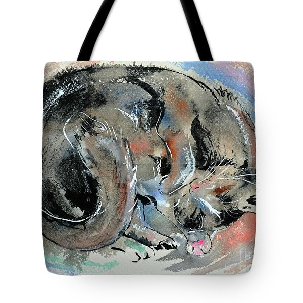 Tote Bag featuring the painting Sleeping Tortoiseshell Cat by Zaira Dzhaubaeva