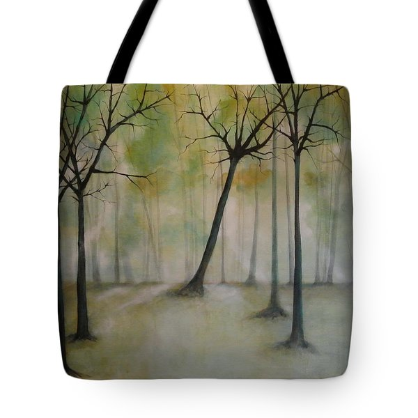 Tote Bag featuring the painting Sleeping Trees by Tamara Bettencourt