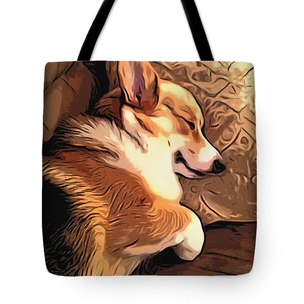 Banjo The Sleeping Welsh Corgi Tote Bag