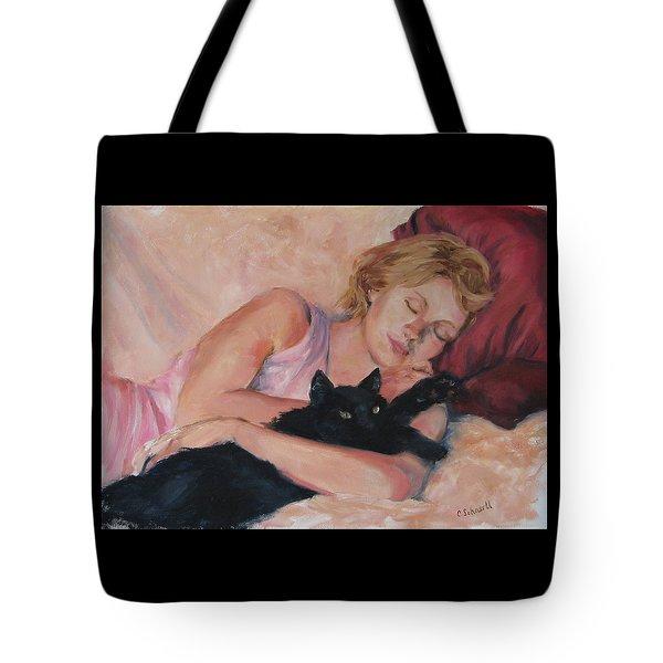 Sleeping With Fur Tote Bag