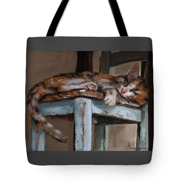 Tote Bag featuring the painting Sleepting Cat by Thomas Lupari