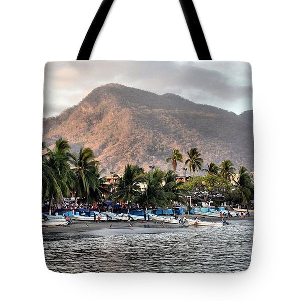 Sleepy Fishing Village Tote Bag
