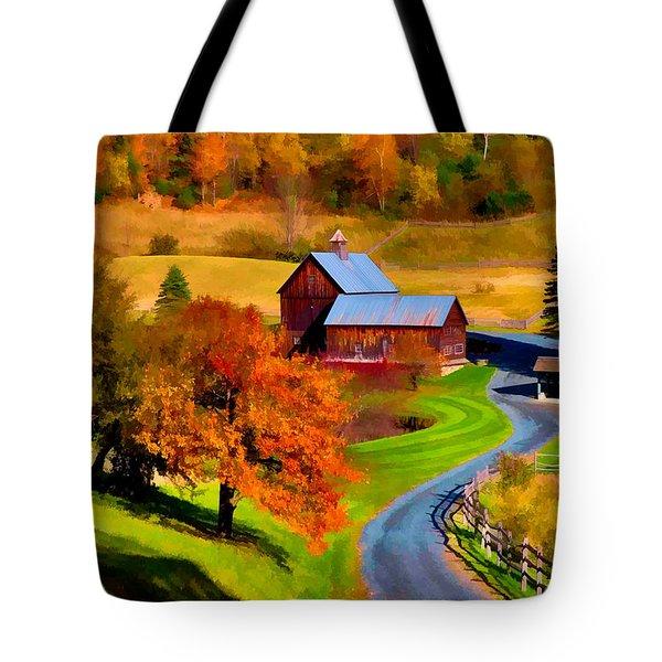 Digital Painting Of Sleepy Hollow Farm Tote Bag
