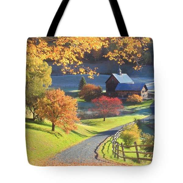 Sleepy Hollow Farm Vermont Autumn Morning Tote Bag