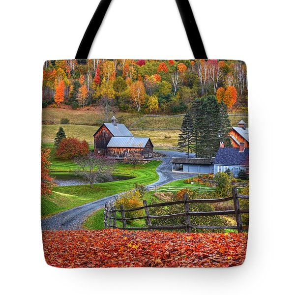 Sleepy Hollows Farm Woodstock Vermont Vt Autumn Bright Colors Tote Bag