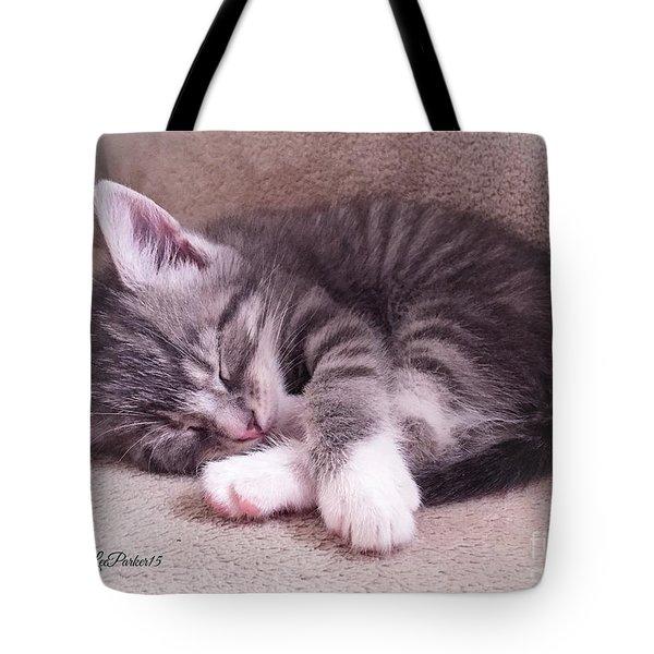 Sleepy Kitten Bymaryleeparker Tote Bag by MaryLee Parker