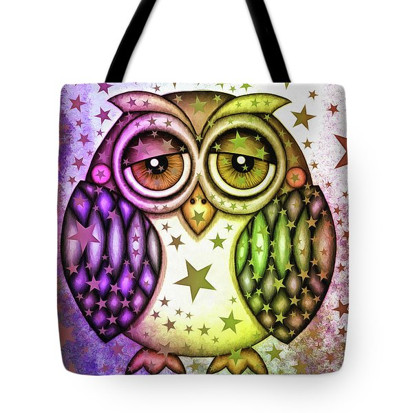 Tote Bag featuring the photograph Sleepy Owl With Stars by Matthias Hauser