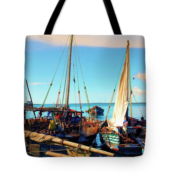Sleepy Sail Boats Zanzibar Tote Bag