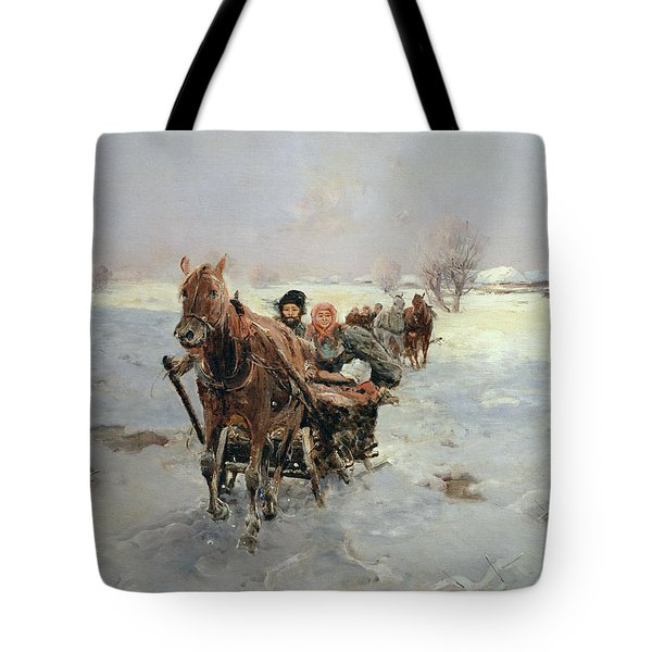 Sleighs In A Winter Landscape Tote Bag by Janina Konarsky