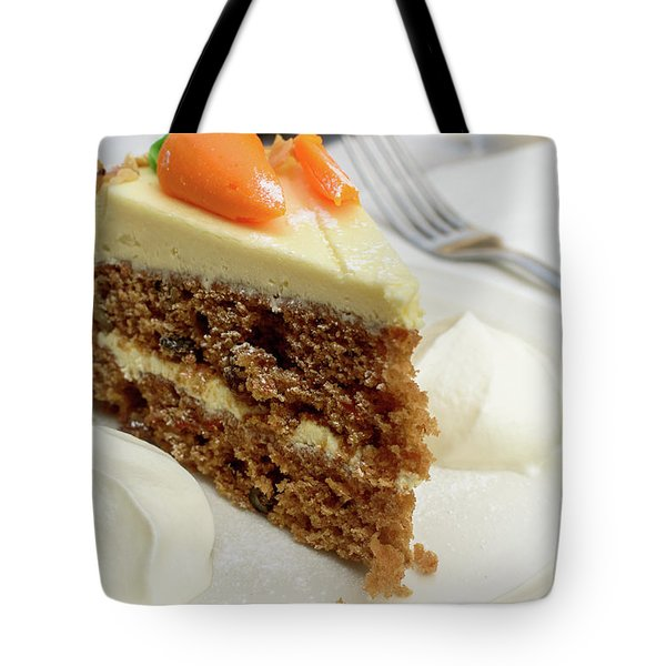 Tote Bag featuring the photograph Slice Of Carrot Cake With Cream A by Jacek Wojnarowski