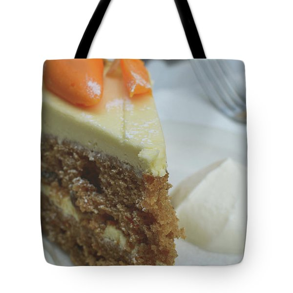 Tote Bag featuring the photograph Slice Of Carrot Cake With Cream B by Jacek Wojnarowski