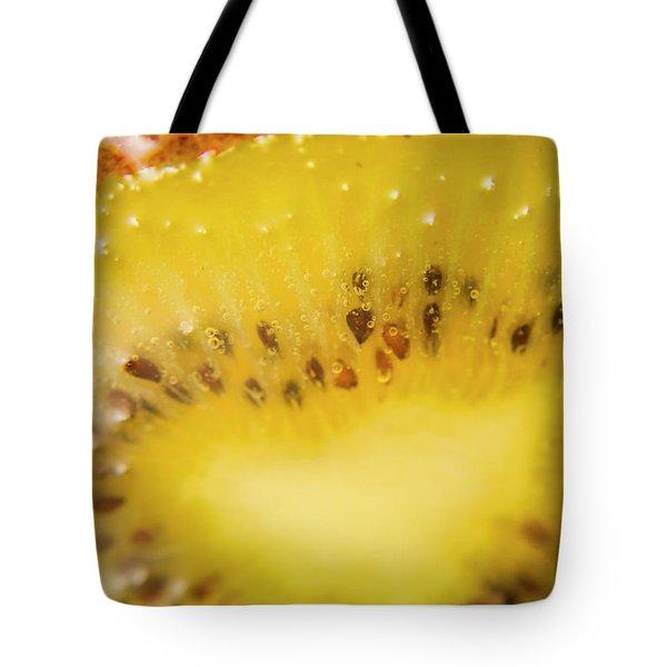 Sliced Kiwi Fruit Floating In Carbonated Beverage Tote Bag