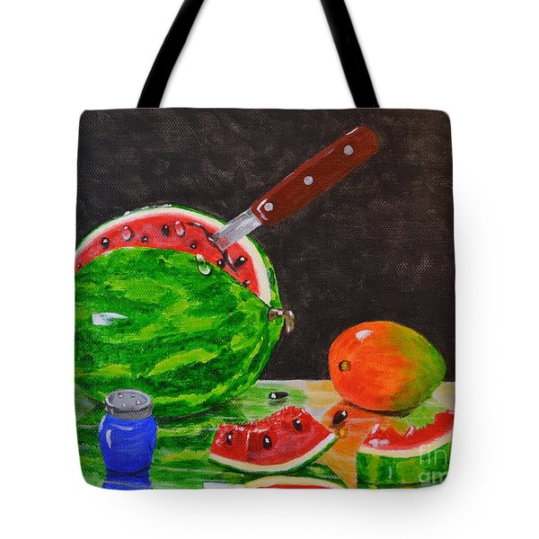 Tote Bag featuring the painting Sliced Melon by Melvin Turner