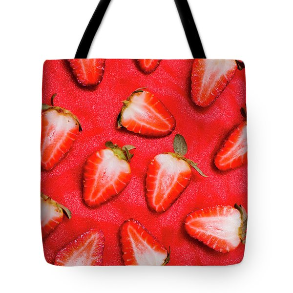 Sliced Red Strawberry Background Tote Bag