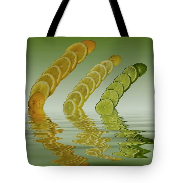 Tote Bag featuring the photograph Slices  Grapefruit Lemon Lime Citrus Fruit by David French