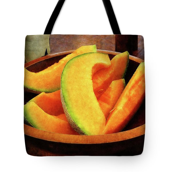 Slices Of Cantaloupe Tote Bag by Susan Savad
