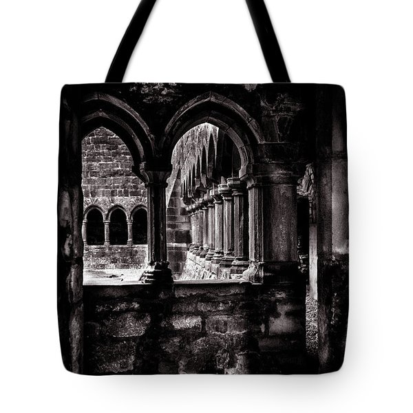 Tote Bag featuring the photograph Sligo Abbey Interior Bw by RicardMN Photography