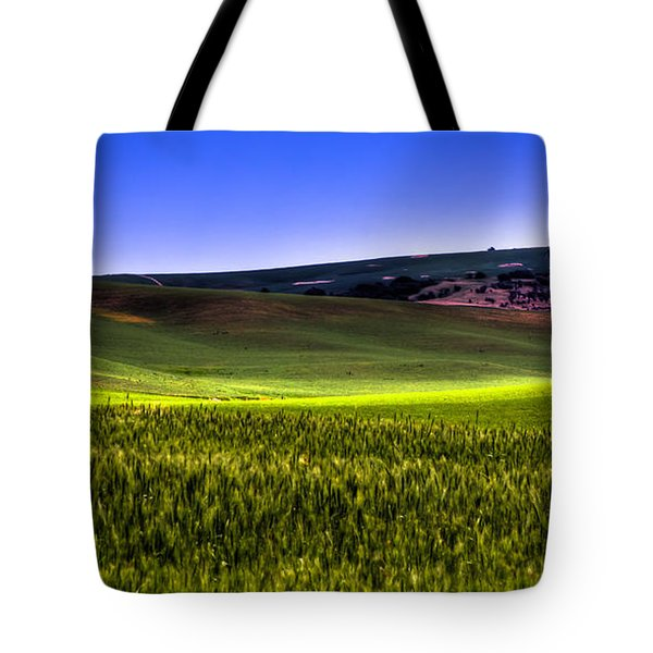 Sliver Of Sunlight On The Palouse Hills Tote Bag by David Patterson