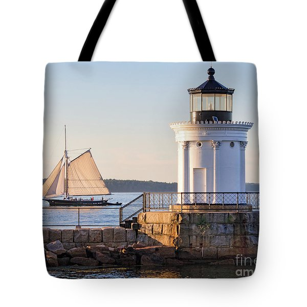Sloop And Lighthouse, South Portland, Maine  -56170 Tote Bag