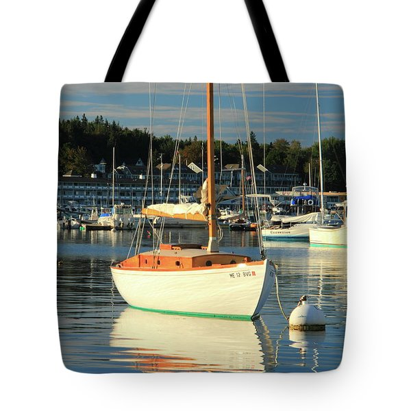 Tote Bag featuring the photograph Sloop Reflections by Roupen  Baker