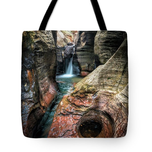 Slot Canyon Waterfall At Zion National Park Tote Bag